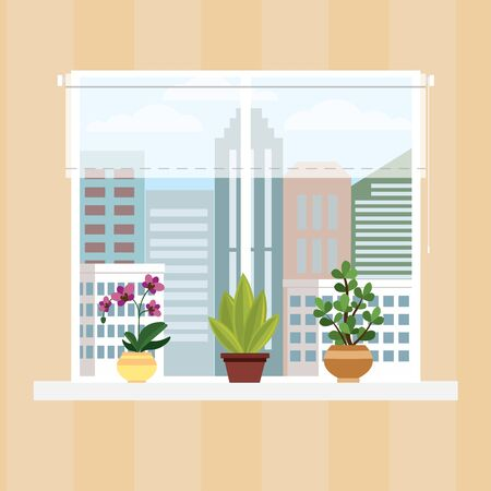 Illustration pour Wall of room with window,curtain and pots with flowers,cartoon vector illustration. - image libre de droit