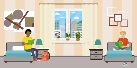 Illustration for Cartoon teen male students in dormitory room. - Royalty Free Image
