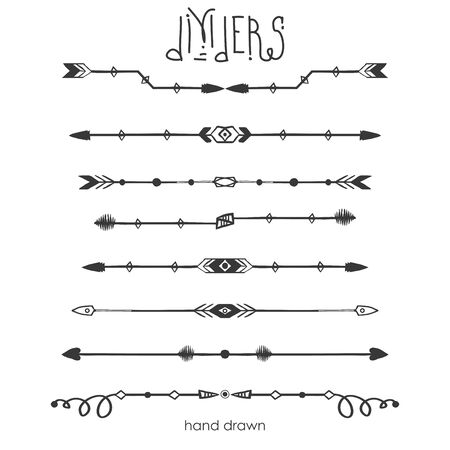 Illustration for Set of Tribal dividers,dividers line in doodle style,isolated on white background,vector illustration - Royalty Free Image