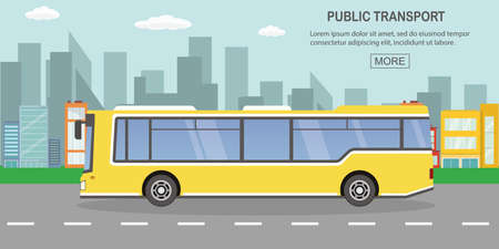 Illustration for public transport concept,yellow city bus on empty road,outdoor flat vector illustration - Royalty Free Image