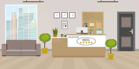 Illustration for Modern empty hotel reception interior with furniture.Flat style vector illustration - Royalty Free Image