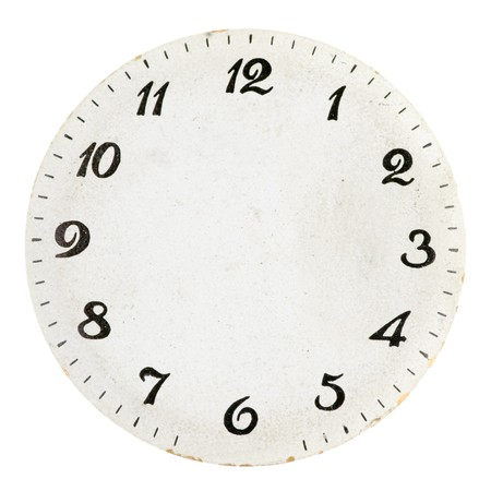 Old round clock face on white background