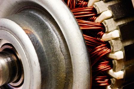 Electric motor rotor close-up, selective focus