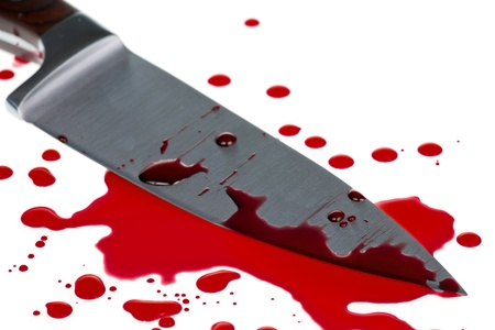 Red blood splatter with  knife