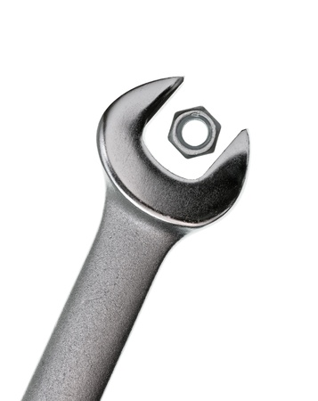 Wrong wrench for  hex nut on white background