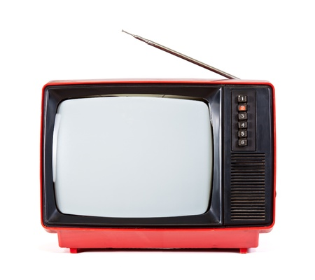 Vintage red Television set isolated on white background