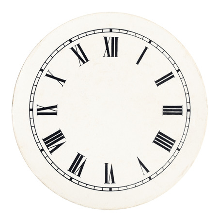 Real round 12-hour roman numeral clock face template on white background