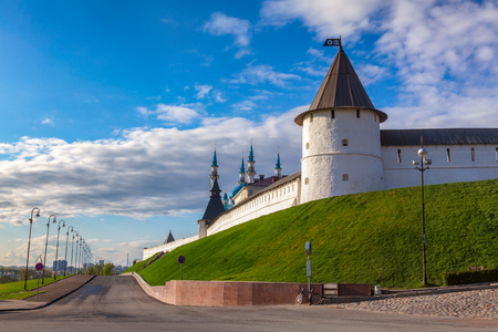 Kazan Kremlin white wall and towers.