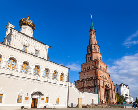 Kazan Kreml House church and leaning Soyembika Tower (Khan's Mosque). Soyembika Tower is the most familiar landmark and architectural symbol of Kazan. Kazan Kremlin is a UNESCO World Heritage Site and  historic citadel of Tatarstan in Russia