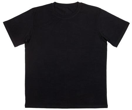 Photo pour Black plain shortsleeve cotton T-Shirt template isolated on a white background - image libre de droit