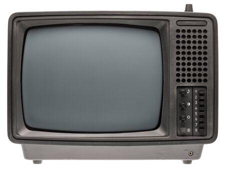 Foto für Vintage portable black and white CRT TV receiver isolated on white background. Retro technology concept - Lizenzfreies Bild