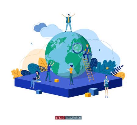 Illustration pour Trendy flat illustration. Teamwork metaphor concept. Globalization Learning Education Knowledge. Training Template for your design works. Vector graphics. - image libre de droit