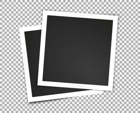 Illustration pour Isolated paper photo frames set. Transparent background. Template for your design works. Vector illustration. - image libre de droit