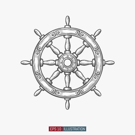 Illustration pour Hand drawn ship wheel. Template for your design works. Engraved style vector illustration. - image libre de droit