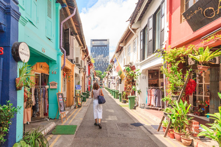 SINGAPORE - MAY 16,2016: Fashion shop which is located in Haji Lane. It is shopping street in the heart of Singapores Kampong Glam Arab Quarter famous for shops,cafes and restaurants.