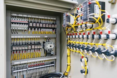 Photo pour Electric control panel enclosure for power and distribution electricity. Uninterrupted, electrical voltage. - image libre de droit