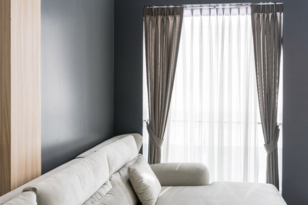 Photo pour Beautiful curtains with ring-top rail, Curtain interior decoration in living room - image libre de droit