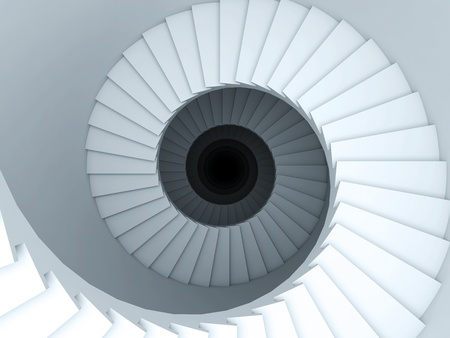 A 3d illustration of a spiral stair to the infinity.
