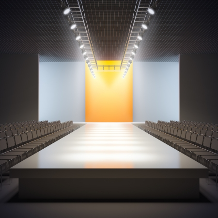 Foto de A 3D illustration of fashion empty runway. - Imagen libre de derechos