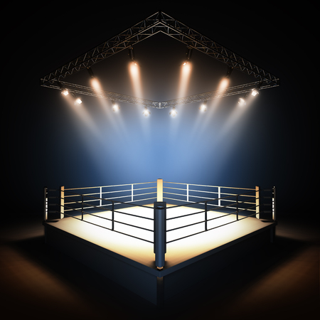 Photo pour A 3d render illustration of empty professional boxing ring with illumination by spotlights. - image libre de droit