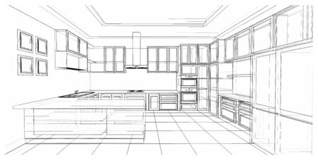Photo pour Interior design of classic style kitchen with modern appliance, 3D wire frame sketch, perspective - image libre de droit