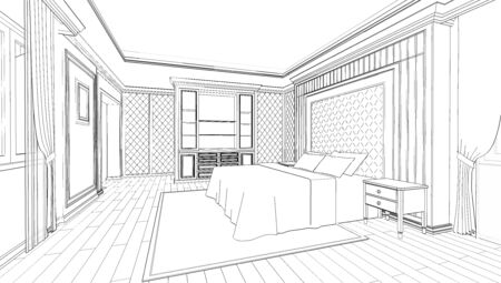 Photo pour Interior design of modern classic style bedroom, 3D outline sketch, perspective - image libre de droit