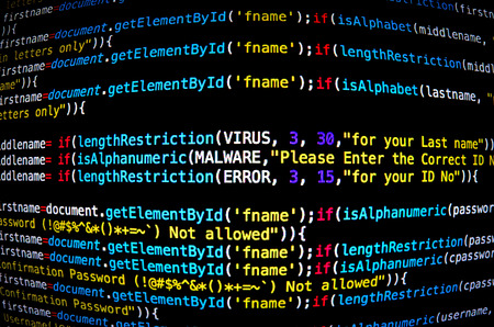 Screen of source code and abstract technology background, Developer and programming with coding, Computer virus and Mal ware attack