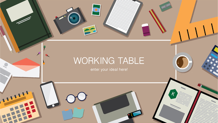 Top view of table working and working desk and free space