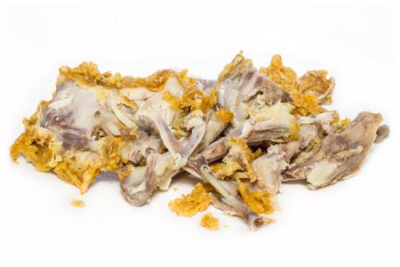 Chicken bones fried on white background