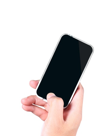 Photo for Hand holding a smartphone on a white background - Royalty Free Image