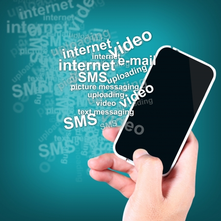 Hand holding a smart phone with the text many features