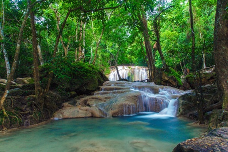 Deep forest Erawan Waterfall