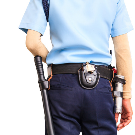Security guard on white background with clipping path