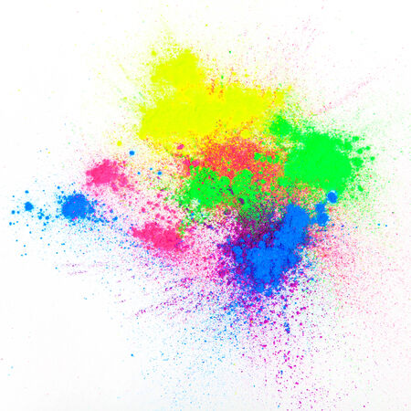 Color powder on white background