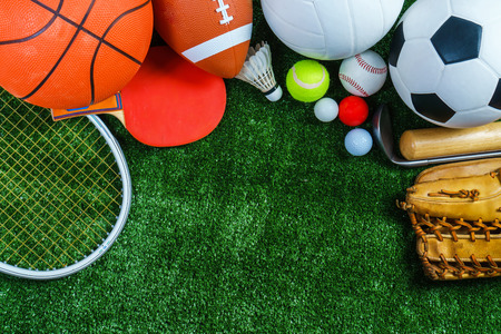 Foto de Sports Equipment on green grass, Top view - Imagen libre de derechos