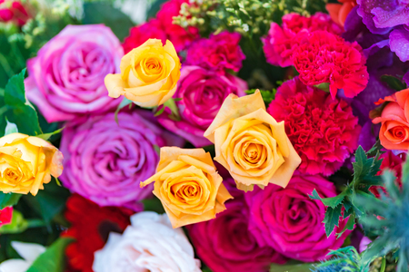 Photo for Mixed multi colored roses in floral decor, Colorful wedding flowers background - Royalty Free Image