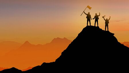 Photo pour Silhouette of Businessman team, Group of peoples standing on mountain top over sunset twilight background with flag, Winner, Success and Leadership concept - image libre de droit