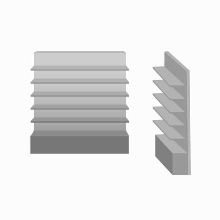 Illustration pour Grey empty retail showcase display with shelves.  Front view and side view. - image libre de droit