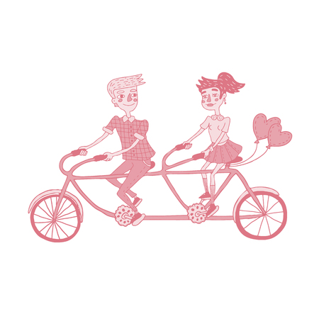 Illustration pour Hand drawing monochromatic illustration depicted happy young couple riding tandem bicycle with balloons in shape of heart. Isolated vector design for Valentine's day in red and blue colors - image libre de droit