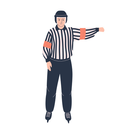 Ice hockey referee. Isolated flat vector illustration with man in hockey uniform for your design