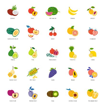 Illustration pour Exotic fruits hand drawn illustrations set. Sliced tropical delicacy. Summer food vector drawings pack. Organic dessert isolated cliparts with typography. Vitamin diet, vegetarian meal - image libre de droit