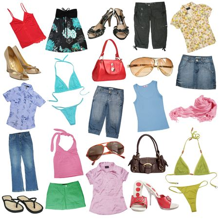 Photo pour Different female clothes, shoes and accessories. - image libre de droit