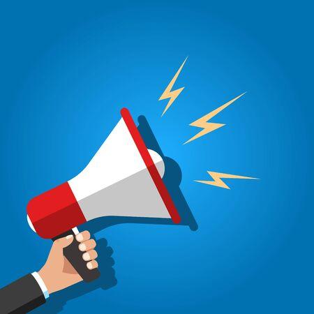Illustration pour Loudspeaker in a mans hand. Alert, announcement. Vector illustration. - image libre de droit
