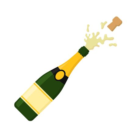 Illustration for Vector illstration of champagne eplosion icon. Flat design. - Royalty Free Image