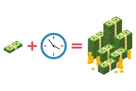 Illustration pour Vector illustration of time is money concept. Isolated. - image libre de droit