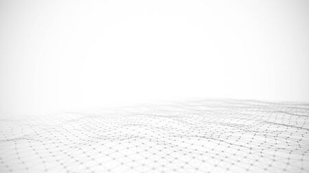 Photo pour Abstraction composition on black and white backdrop. Connection structure. Background with connecting triangulars, dots and lines. 3d rendering. - image libre de droit
