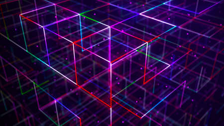 Photo pour Abstract neon cube. Glowing mesh with static. cyberpunk signboard. 3d rendering - image libre de droit