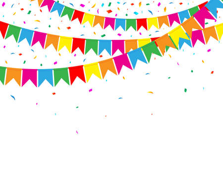 Illustration for Garland of Color Flags and Confetti on White Background. Party Web Banner. Celebration Background. Vector Illustration. Flat Style. - Royalty Free Image