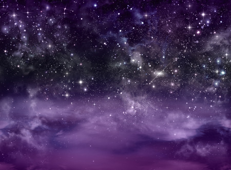 Purple Clouds And Stars In The Sky