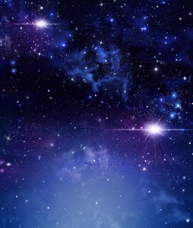Blue starry night sky illustration